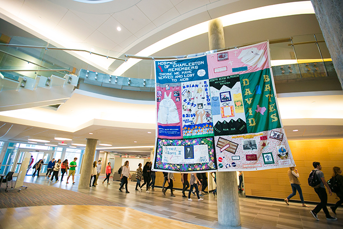 The quilt on display at Atwood Chemistry Center.