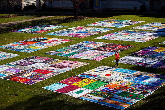 World Aids Day Quilt on the Quad at Emory