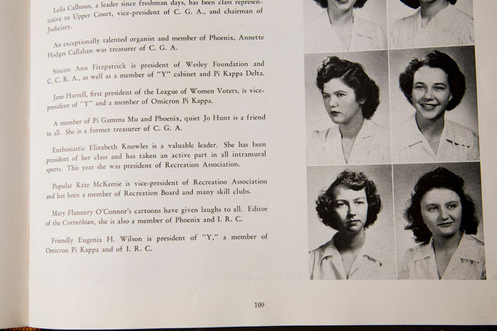 "Georgia State College for Women 1945 yearbook, ""Spectrum,"" of which O'Connor was the artistic director, containing O'Connor's sketches and school photo."