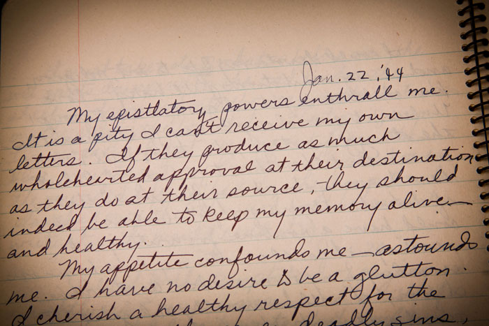 "Jan. 22, 1944 entry in Flannery O'Connor's personal journal labeled ""Higher Mathematics I,"" kept January and February 1944."