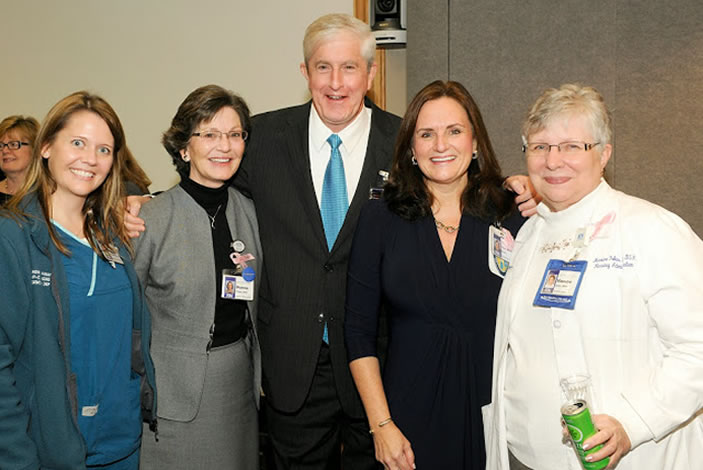 At the January 14, 2014, announcement, left to right: Dianne Foster (EUH director of nursing operations), Bob Bachman (EUH CEO), Susan Grant (Emory Healthcare chief nursing executive), and Maxine Foles (EUH nursing supervisor).