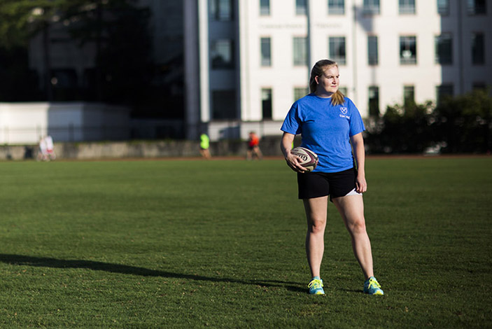 Playing rugby, Clark loves the physicality of the sport and how it promotes body positivity in girls.