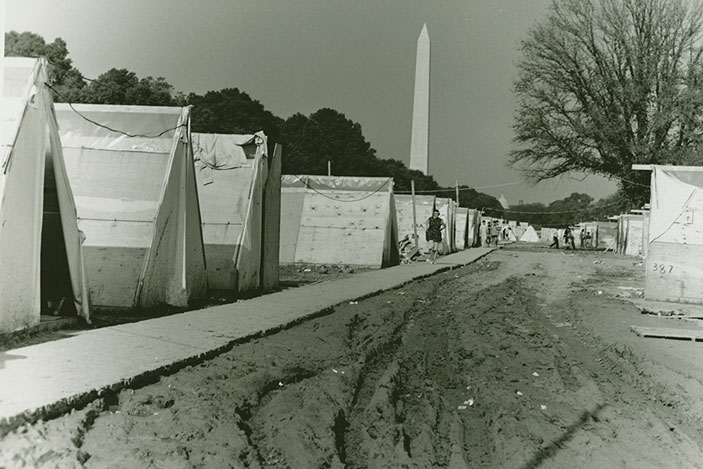 Photograph of tents in Resurrection City during the Poor People's Campaign in Washington, D.C., 1968