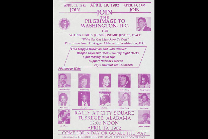 Flier, Pilgrimage to Washington for Voting Rights, Peace, Economic Justice, 1982