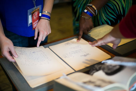 Poets on campus for the 2015 Brave New Voices International Youth Poetry Slam Festival explore MARBL archival materials, including early poems and hand-corrected drafts of work by acclaimed poets Langston Hughes, Seamus Heaney and Lucille Clifton.