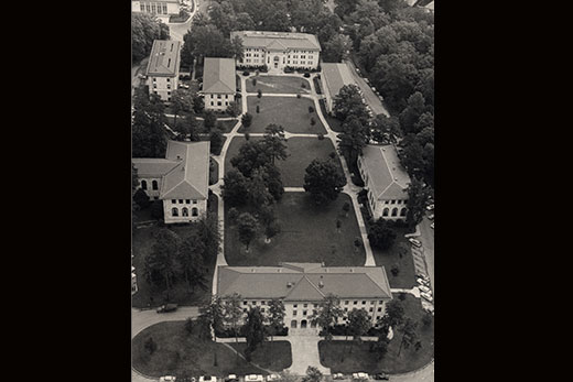 This aerial photo of the Quad on the Emory campus was taken in the late 1950s or early1960s. Credit: Emory University Archives