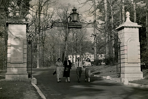 Dedicated in 1937, the Haygood-Hopkins Memorial Gate stands at the main entrance of Emory University's main campus. This photo was taken around 1949. Credit: Emory University Archives.This aerial photo of the Quad on the Emory campus was taken in the late 1950s or early1960s. Credit: Emory University Archives