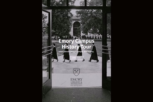 A screenshot of the new Emory Campus History Tour homepage.