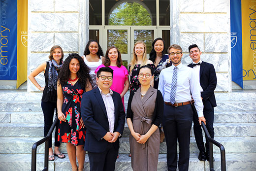 Emory's Fulbright awardees for 2018 include (back row, left to right) Emily Pingel, Asha Fradkin, Julia Munslow, Jonathan Conde-Peraza, (middle row) Abigail Lopez-Rivera, Nora Sullivan, Lydia Rautman, Zachary Denton, (front row) Chebon Ryan and Hyemin Na.
