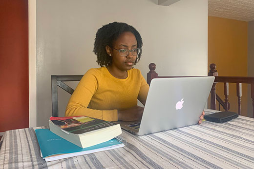 Although studying from home was not how Michelle Mugo envisioned completing her senior year, her takeaways include lessons in adapting to change that will help carry her through life.