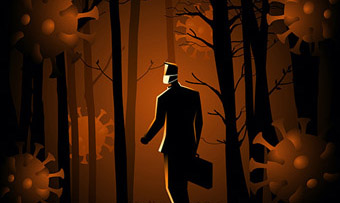 Illustration of man in the woods